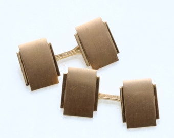 Vintage 18k yellow gold Rectangle Cufflinks Matte Vintage Matte Estate