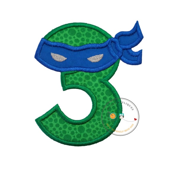 Number 3 Blue Ninja Birthday Applique Iron On Embroidered