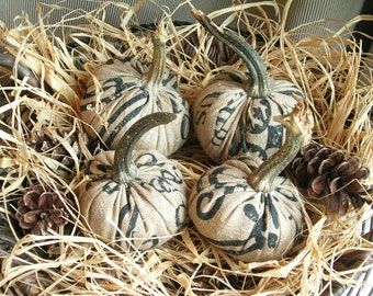 Burlap Pumpkins with Real Pumpkin Stems Rustic Thanksgiving Fall Home Decor Autumn Tablescape Bowl Fillers Hostess Gift Sold Separately