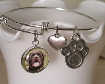 Custom Photo Charm Bangle Bracelet Pet Photo Memory bracelet Alex & Ani inspired Stackable bracelet Gift