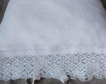 New price!   White Pillow Case. Linen Pillow Case.White Pillowcase.  Laced pillowcase. Pillowcase with ties.