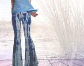 Size M Ready to Ship Blue Striped Tie Dye  Flares Yoga Pants  Boho bell bottom pants coachella bells