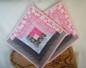 Large Log Cabin Quilted Potholders in Pinks and Greys - Set of 2