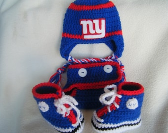 Crocheted Giants Inspired Football Set, Hat, Diaper Cover and Booties