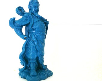 chinoiserie statue, mod home decor, teal, asian sculpture, kitsch decor, asian art