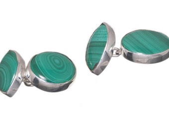Malachite Cufflinks Double Oval And Lozenge Genuine Gemstone Sterling Silver 925