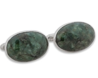 Spinach Jade Cuff Links Hand Crafted Medium Genuine Gemstone Sterling Silver 925