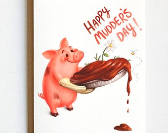 Mothers Day Card, Card for Mom, Pig Card