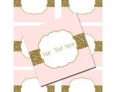 "INSTANT DOWNLOAD -  Pink Blush Gold Glitter 3x3"" Square Cupcake Favor Tags or Labels Jelly Jars Birthday Party Baby Wedding - You Print"