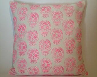 Sugar skull hand black printed cushion cover in hot pink