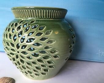Celadon Green Chrysanthemum Pottery Luminary; Candle Lantern; North Carolina Pottery by Dawn Tagawa; Ready to Ship