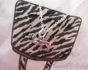 """Sterling Silver Dachshund Dog Necklace 18"""" long Christmas Gift -with Box"""
