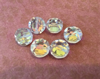 6 Beautiful Large Faceted Crystal Beads with Aurora Borealis Finish