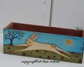 original rabbit painting  on vintage lakeshire 5lb wood box lisa arkus
