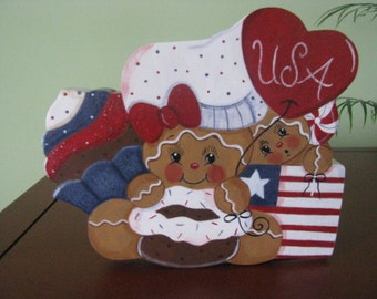 gingerbread, patriotic, cupcake, flag, heart, chef, shelf sitter, wood,  handpainted