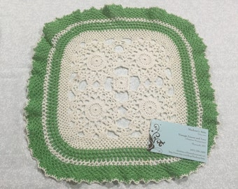 Vintage 12 inch Square White and Green Hand Crochet doily for housewares, home decor, pillows, crafts, shabby chic, bags by MarlenesAttic