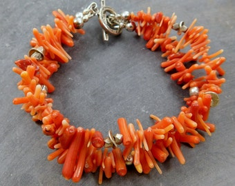 Dyed Branch Coral 2 Strand Bracelet, Hill Tribe Sterling Silver