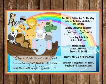 Noah's Ark Twin Religious Baby Shower Invitation Download