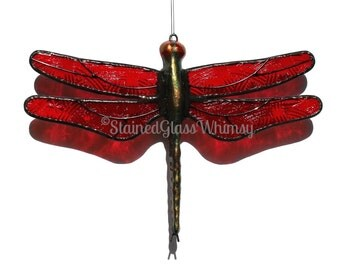 Stained Glass DRAGONFLY Suncatcher  ' Celtic Knot ' Pressed Glass, Textured Ruby Red Wings, Handcast Metal Body, USA Handmade, Red Dragonfly