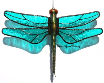 "Stained Glass DRAGONFLY Suncatcher,  ""Moonlight Turquoise"", Textured Pressed Glass, Handcast Metal Body, USA Handmade"