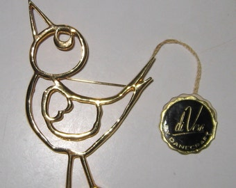 Danecraft Ciani Di Vera Bird Pin Brooch, Original Tag