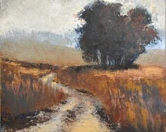 Foggy Morning - Print of Original Art - Oil + Cold Wax - Earthy, Gray, Brown, Buff