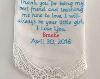 FREE SHIPPING! Mother of the bride personalized handkerchief gift