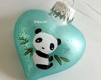 Glass panda ornament | Etsy