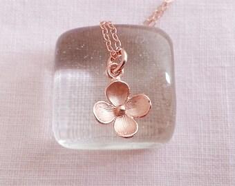 Rose Gold Flower Necklace. Flower Pendant. Floral Necklace. Rose Gold Necklace. Simple Dainty Everyday, Christmas Gift