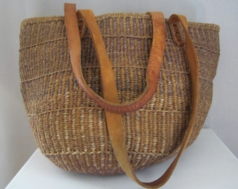 Large Vintage Jute and Leather Woven Bag - Ethnic Market Bag - Boho Style Shoulder Tote - Purple Brown - Brown Leather Handles