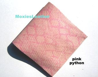 pink leather python print - soft leather python print - genuine leather pink snake print - pink leather printed