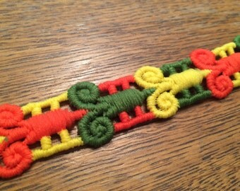 Vintage Embroidered Trim, Orange, Yellow, Green Mod Floral Trim, By the Yard