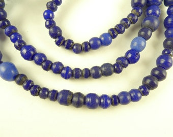 "20"" indigo cobalt blue Bohemian pressed glass rounds African trade beads antique"