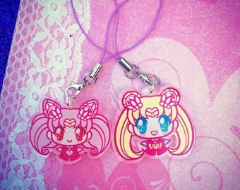 "Sailor Moon OR Sailor Chibi Moon 1.5"" Charm or Keychain"