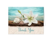 Beach Thank You Cards - Lily Seashells Sand Rustic Wood Dock - Seaside Water Tropical - Printed Cards