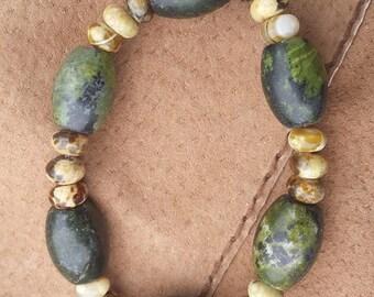 Serpentine and Rhyolite bracelet