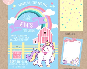Horse Themed, Horse Farm Birthday Invitation Kit - Invite AND Thank You Card included