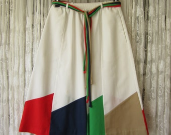 Retro 1980's Colorblock Cotton Skirt Hip Preppy Multicolored 80s White Skirt