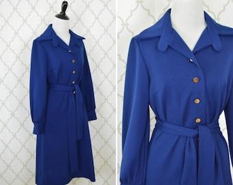 Vintage 1970's Jacket Dress - Button Up Navy Blue Belted Dress - 70s blue dress - ladies size Medium