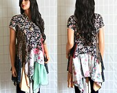 Upcycled Silk Bohemian Tunic Top Floral Romantic Recycled Clothing Size Medium
