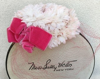 Vintage pillbox style or fastner hat pink velet bow and white pink flowers by Miss Sally Victor plus box