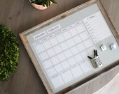 Large Dry Erase Perpetual Calendar with  Barn Wood Horizontal Magnet Board. You pick Calendar Color & Font.