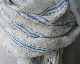 Ivory blue linen scarf-linen lover gift scarf-hand dyed gauze natural linen scarf-women's scarves-woman fashion accessories-Turkish- shawl