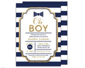 Navy & Gold Baby Shower Invitation - Little Man Invitation - Bow Tie Invitation - Gold Glitter - Boy Baby Shower Initation - Oh Boy invite