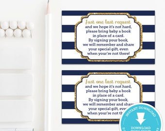 Navy and Gold Book Request Card Insert, Navy and Gold Baby Shower, Baby Shower Games, baby shower printable, Boy Baby, Instant Download