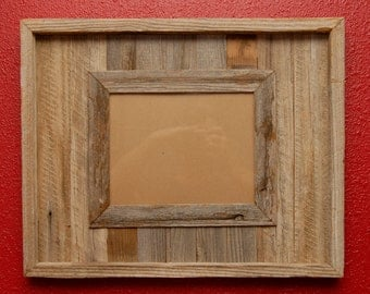 16x20 rustic barn wood picture frame holds 8x10 photo.