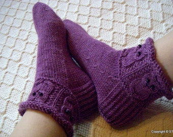 Lilac owls -Socks/slippers Womens Mens Warm cosy wool socks light lilac Handknitted Gift idea Winter warm wool Handmade in Finland