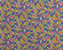 "Cotton Knit Fabric Remnant Pink Tulips Yellow Mod Flowers Abstract Floral Fabric Purple Flowers - 33"" x 58"" - CKF1503"