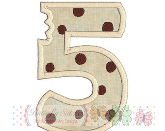 Number Five Cookie with bite Digital Machine Embroidery Appliqué Design - 4 sizes