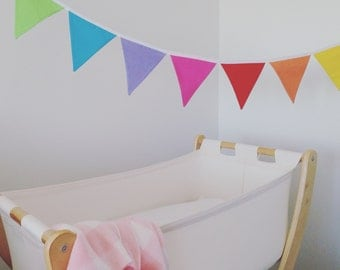 the lucia - rainbow fabric flag banner bunting